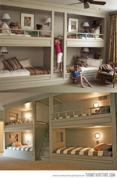 bedroom for basement. Extra beds for forts, reading nook and sleepovers