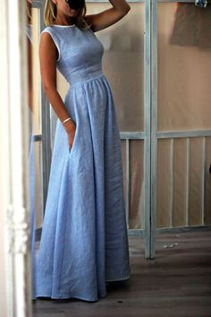 up to off, Hot sale Elegant High-Waisted Pocket Holiday Maxi Dress - Outfit ideen - Summer Dress Outfits Dress Skirt, Dress Up, Bodycon Dress, Dress Long, Dress Casual, Simple Long Dress, Dress Formal, Casual Clothes, Long Denim Dress