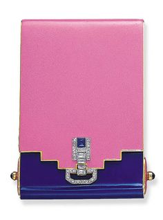 Art Deco enamel, sapphire and diamond powder compact, by Van Cleef & Arpels, 1927