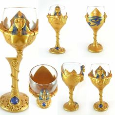 Check out this gorgeous Egyptian Wine Glass I've sculpted from Polymer Clay. I make them to order in any design, in any theme for all occasions. Your imagination is the limit! Pop over to my page for inspiration and send me a message to discuss your ideas