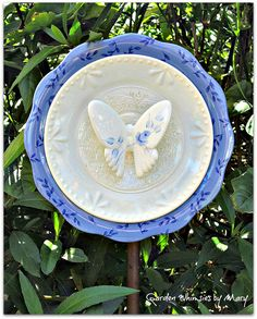 Rose Butterfly Plate Flower Garden Stake  by GardenWhimsiesByMary, $35.00