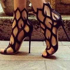 Irresistible Coppy Leather Hollow-Out Stiletto Sandals  Stiletto Sandals