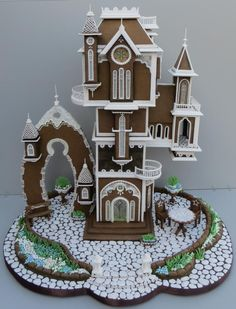 This Gingerbread house won first place at the National Gingerbread House Competition in Asheville, North Carolina. Dream house was inspired by the magical architectural designs of Daniel Merriam (High Altitude, Land's End, Port of Call) It has a. Gingerbread House Designs, Christmas Gingerbread House, Gingerbread Cookies, Christmas Cookies, Gingerbread Houses, Christmas Desserts, Cookie House, House Cake, All Things Christmas