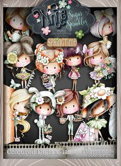 Spring themes Digital Stamp printables perfect for digital cards, digi scrap kit, digital scrapbooking, cardmaking hybrid crafting Kids Stamps, Spring Theme, Spring Colors, Sugar Sprinkles, Arts And Crafts, Paper Crafts, Handmade Stamps, Whimsy Stamps, Machine Embroidery Applique