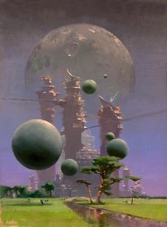 The striking paintings and illustrations of English artist John Harris imagine a brightly colored, haunting world beyond Earth and even beyond the stars. Harris' vision has been a big part of the look of science fiction, thanks to his cover art for… Arte Sci Fi, Sci Fi Fantasy, Fantasy World, Science Fiction Kunst, 70s Sci Fi Art, Beyond The Horizon, Psy Art, Futuristic City, Alien Worlds
