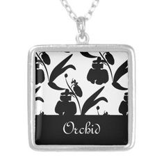 Orchid Silhouette Pattern Black Necklace ~ Beautiful black silhouetted orchid blossoms and leaves make up this pattern with an elegant look against a white background or any background color of your choice