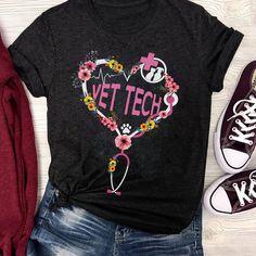 """..... #Vet Tech#T-Shirts#AzBetter"" Tech T Shirts, Cool Shirts, Tee Shirts, Scrubs Funny, Vet Tech Student, Poodles, Veterinary Medicine, Veterinary Technician, T Shirts For Women"