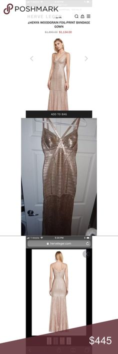 Herve Leger Dress S Beautiful Herve Leger gown still in stores for $1200. Worn once, 9/10 great condition. Extremely form flattering. I'm 5'4 size 0, size 32C and it fit me beautifully. Bottom of gown is clean. Grab it for a fraction of the price! Herve Leger Dresses Prom