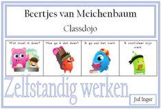 De Beertjes van Meichenbaum helpen leerlingen bij het denkproces tijdens het uitvoeren van een opdracht. De figuurtjes helpen de leerlingen om een taak stapsgewijs aan te pakken. De afgelopen schooljaren ben ik steeds meer met Classdojo gaan werken en daarom heb ik een versie van de Beertjes van Meichenbaum gemaakt met de monsters van Classdojo. … Classroom Organisation, Classroom Management, Classe Dojo, Monster Classroom, Co Teaching, High Five, Starting School, Special Needs, Primary School