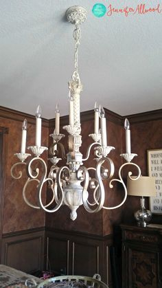 Painting light fixtures and chandeliers. This easy tutorial shows you how to change outdated or brass light fixtures and chandeliers in your home.
