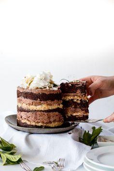 Momofuku German Chocolate Cake -- Chocolate Cake with Chocolate Espresso Soak, Crack Pie Filling, and German Chocolate Mousse Dark Chocolate Cakes, Chocolate Espresso, German Chocolate, Espresso Coffee, Coffee Coffee, Coffee Break, Homemade Chocolate, Baking Recipes, Cake Recipes
