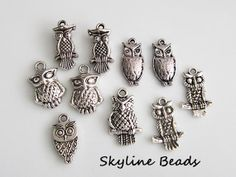10 Assorted Owl Charms / Pendants Antique Silver by SkylineBeads, $2.65