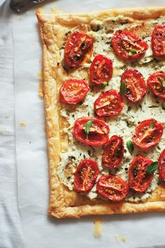 Tomato tart: Couldn't bring myself to do this to my garden tomatoes (which should simply be devoured raw) but I can't wait to jazz up my next batch of Costco tomatoes with this recipe!