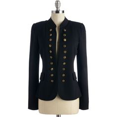 Military Mid-length Long Sleeve I Glam Hardly Believe It Blazer (68 CAD) ❤ liked on Polyvore featuring outerwear, jackets, blazers, apparel, black, military style blazer, military blazer, mid length jacket, tailored jacket and military jacket