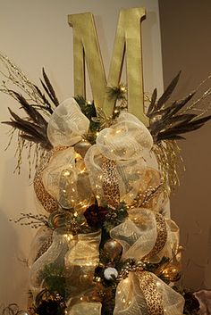 Art Monogram Tree Topper christmas-and-winter Merry Little Christmas, Christmas Love, Christmas Tree Toppers, All Things Christmas, Beautiful Christmas, Winter Christmas, Christmas Tree Decorations, Christmas Wreaths, Christmas Crafts