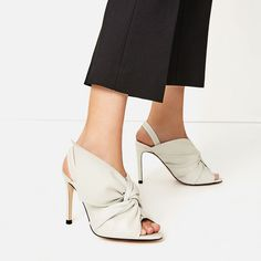 Image 1 of LEATHER SANDALS WITH BOW from Zara
