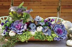 Bring a seasonal splash of color to your entryway by mixing and matching eye-popping blooms with rustic grasses and foliage in your fall container gardens. Fall Window Boxes, Ornamental Cabbage, Fall Containers, Succulent Containers, Fall Container Gardening, Container Flowers, Fountain Grass, Pot Jardin, Fall Planters