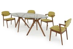 Modrest Skylar Modern Glass Oval Dining Table VGMAMIT-5073-1-DTProduct :17539Features:Tempered Clear Glass TopOval Shaped TopWalnut BaseShown With Skylar Dining Chair (Sold SeparateDimension :Dining Table :W79