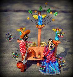 Catrinas Family by el_catrinero Mexican Crafts, Mexican Folk Art, Paper Mache Diy, Day Of Death, Day Of The Dead Artwork, Mexico Day Of The Dead, All Souls Day, Mexican Holiday, Sugar Skulls