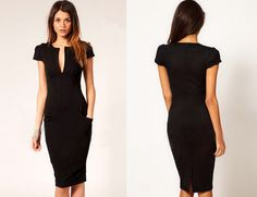 V-neck Pure Color Short Sleeve Knee-length Office Dress