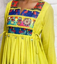 Yellow Cotton Silk Anarkali Kurta