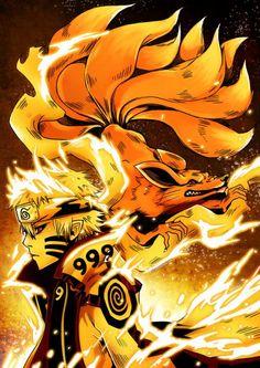 Fans of Naruto are not dead!© Naruto and Kurama from Naruto by Masashi Kishimoto Step by Step: [link] A nine-tailed fire fox to celebrate the watc. Anime Naruto, Boruto, Naruto Shippuden Sasuke, Naruto Kakashi, Naruto Teams, Wallpaper Naruto Shippuden, Naruto Wallpaper, Naruto Art, Sasunaru