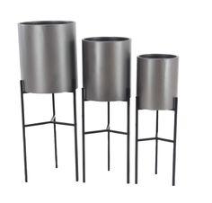 Modern 3-Piece Metal Pot Planter Set with Stand