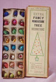 HAND BLOWN FANCY MINIATURE CHRISTMAS TREE ORNAMENTS.