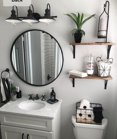 There's nothing like a black stainless steel finish for an chic and edgy vibe. Bathroom Renos, Bathroom Renovations, Small Bathroom, Home Remodeling, Washroom, Bathroom Fixtures, Upstairs Bathrooms, Bathroom Interior Design, Rustic Bathroom Designs