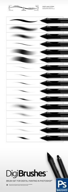 Digital Brushes — Photoshop ABR #stylus #digital • Available here → https://graphicriver.net/item/digital-brushes/15815663?ref=pxcr