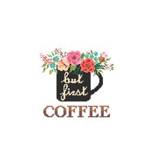 But First Coffee Cross Stitch Pattern cross stitch Floral