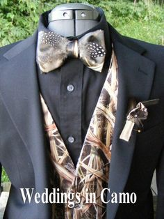 "CAMO Bow ties with your choice of feathers--turkey, duck or guinea. Add this to your favorite CAMO vest and matching CAMO Boutonniere. PLAN your day with ""Weddings in Camo"""