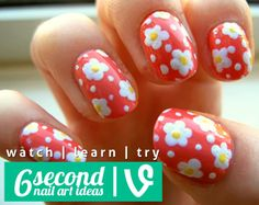 Daisy nail art ideas. Watch, learn, try.
