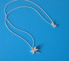 925 Sterling Silver Zirconia Dragonfly Necklace
