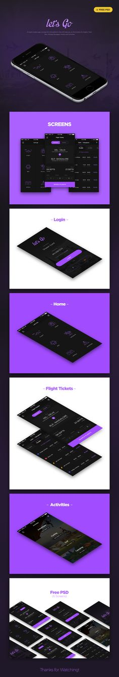 Let's Go Travel App - Free PSD on Behance