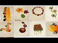 Types of colorful Plating techniques Plate Design, Food Design, Fancy Food Presentation, Food Plating Techniques, Dessert Decoration, Gourmet Recipes, Gourmet Desserts, Sushi Recipes, Gourmet Foods