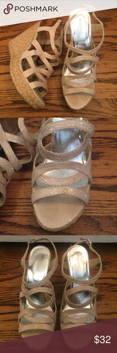 Faux Snakeskin Strappy Wedges Cream faux snakeskin strappy wedges. 4.5 inch braided wedge heel. Size 8. Excellent used condition worn just a few times Nine West Shoes Wedges