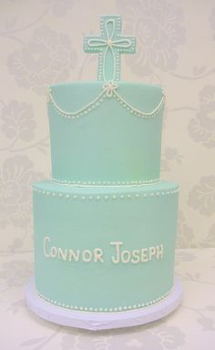 A baptism cake for baby boy from The Cupcake Shoppe in Raleigh. Simply beautiful! #baby #dedication