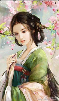 By Artist Unknown.By Artist Unknown. Fantasy Art Women, Beautiful Fantasy Art, Fantasy Girl, Princesas Disney Zombie, Geisha Art, Art Japonais, Korean Art, China Art, Anime Art Girl