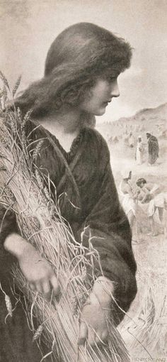 """Ruth, by Henry Ryland. Ruth, a Moabite, said to her mother-in-law, Naomi, an Israelite, """"Thy people shall be my people, and thy God, my God"""" (see Ruth 1:16). Ruth's life shows obedience to God's will and following Christ—not bloodline—makes us a part of the kingdom of God (see Ruth 2:12)."""