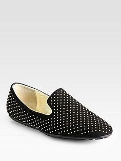Jimmy Choo Wheel Studded Suede Smoking Slippers