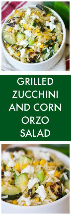 Grilled zucchini and corn orzo salad, Zucchini Salad, Grilled Zucchini, Meat Recipes, Whole Food Recipes, Healthy Recipes, Clean Eating Recipes, Healthy Eating, Healthy Food, Smoked Pulled Pork