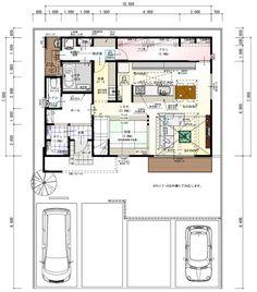 misakiのおうちづくりさんはInstagramを利用しています:「*間取り* 床面積37.6坪 工事面積42.4坪 細かな点を修正しました! ・左右反転 ・脱衣所横のウッドデッキとスロップシンク追加(陰干し洗濯スペース) ・和室の小上がりと階段の1.2段目を揃える ・和室のスタディカウンターは掘り下げず、カウンターのみ設置…」 Japanese Architecture, Architecture Plan, Villa Plan, Japanese Interior, Paint Colors For Living Room, Japanese House, House Layouts, Interior Design Living Room, House Plans
