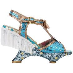 Irregular Choice Nimbus Sequin Fringe Platform Sandals - Pale Blue... ($96) ❤ liked on Polyvore featuring shoes, sandals, pale blue gold, high heel sandals, fringe high heel sandals, bow sandals, gold sandals and metallic sandals