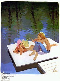 Valentine, In Love, Friends / Innamorati, Amici - Art by Edmond Kiraz Playboy Cartoons, Sexy Cartoons, Art And Illustration, Pop Art Drawing, Lake Art, Ligne Claire, Art Background, Concept Art, Fine Art