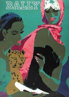 Vintage Vogue, Vintage Ads, Vintage Market, Bally Poster, Illustrations Posters, Fashion Illustrations, Vintage Illustrations, Rene Gruau, Old Advertisements