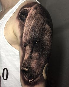 Fluffy Grizzly Bear Guys Arm Tattoo | Best tattoo ideas
