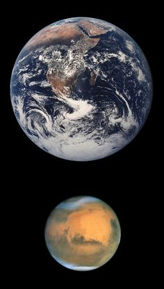 ♥ Earth and Mars in true color!