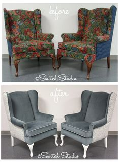 Switch Studio: Before U0026 Afters, Reupholstered, Wingback Chairs, Grey And  White