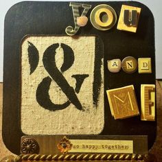 Framed Textile Art---YOU & ME Quote w/ Monoprint---Mixed Media Ampersand by TextileandType on Etsy